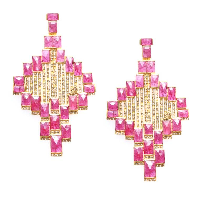Coomi Mozambique ruby tiled earrings.