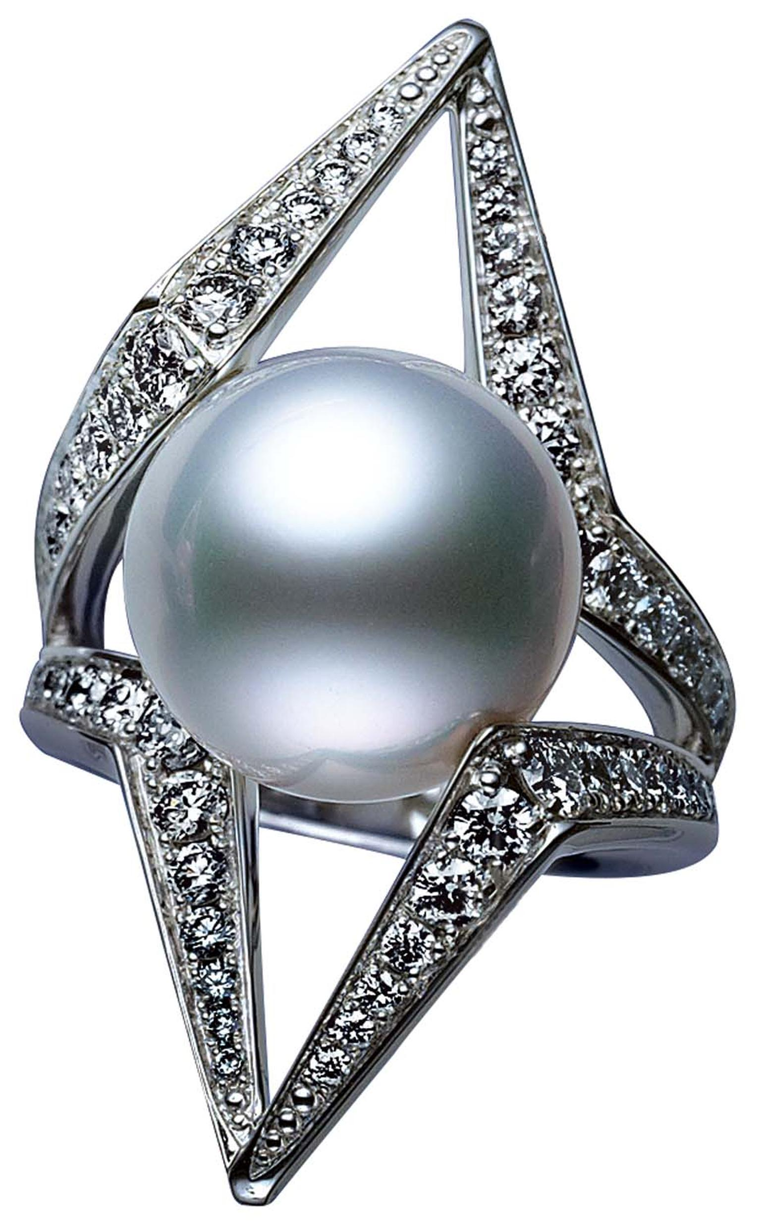 Mikimoto World of Creativity collection Morning Star ring with a cultured South Sea pearl set amongst angular diamond pavé lines.