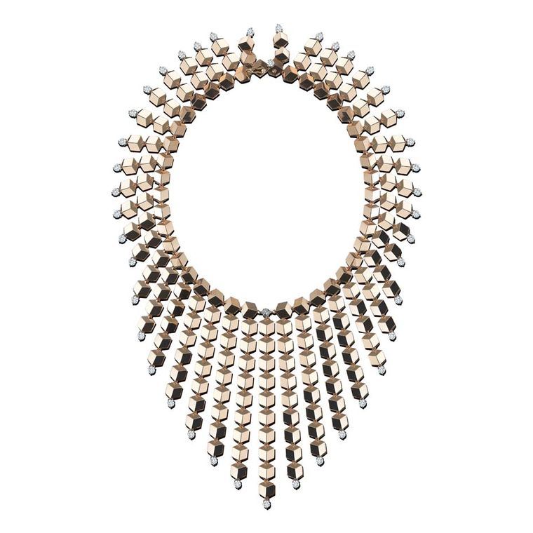 Paolo Costagli's award-winning Brilliante Sexy necklace, featuring tessellating gold shapes and diamond accents.