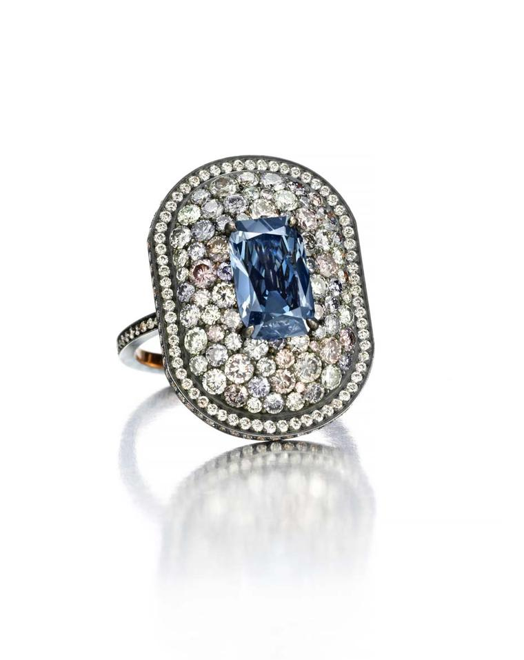 Another jewel from the recent collaboration with Siegelson and Lauren Adriana that is set to be revealed at Masterpiece London includes a rare type IIb deep blue diamond (the same certified colour as the Hope diamond) and is surrounded by coloured pave di