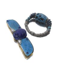 Cartier's Cole Porter Egyptian suite, which Siegelson will be exhibiting at Masterpiece London, features a 1926 Scarab belt buckle brooch and a 1928 Eye of Horus bracelet with diamonds and cabochon sapphires.