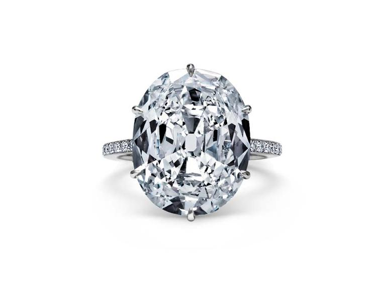 Steven Fox oval 8.70ct cushion-cut diamond ring with a handmade platinum diamond band.