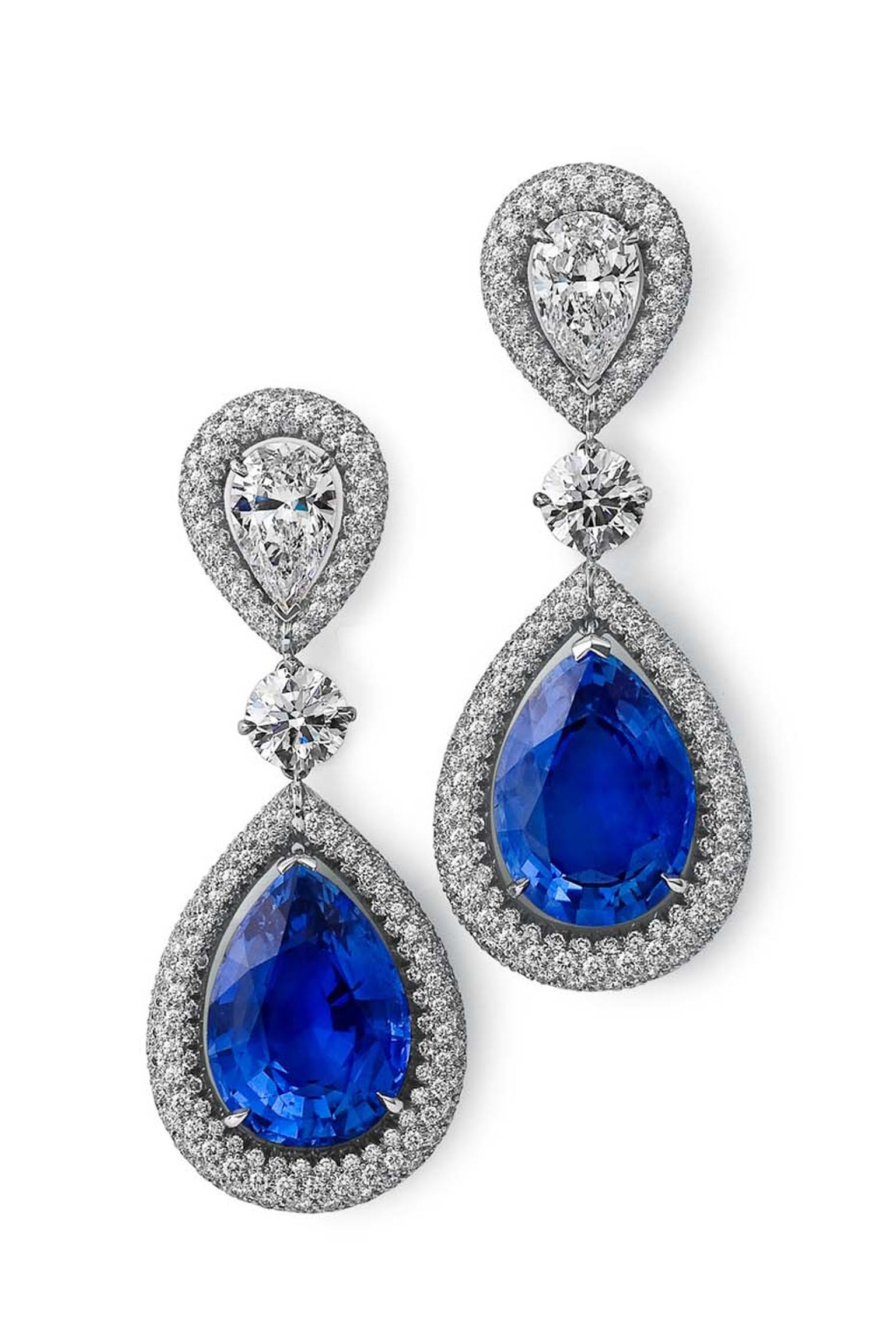 Steven Fox handmade drop earrings with 18.37ct Ceylon sapphires and near flawless diamonds, including two pear-shaped and two round brilliant diamonds, surrounded by 484 micro-set diamonds.