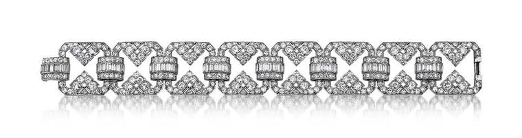 1930s platinum and diamond bracelet designed by Udall & Ballou with 23.25ct European-cut and baguette-cut diamonds, for sale at Steven Fox's Greenwich boutique.