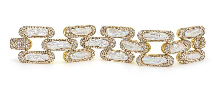 Steven Fox handmade gold bracelet with 14 baroque freshwater pearls individually ringed with 16.09ct diamonds.