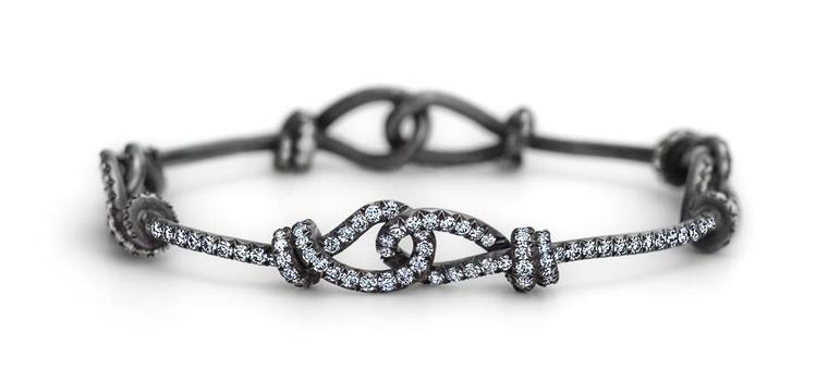 Steven Fox handmade Love Knot bracelet with blush-finished platinum and 5.16ct diamonds.