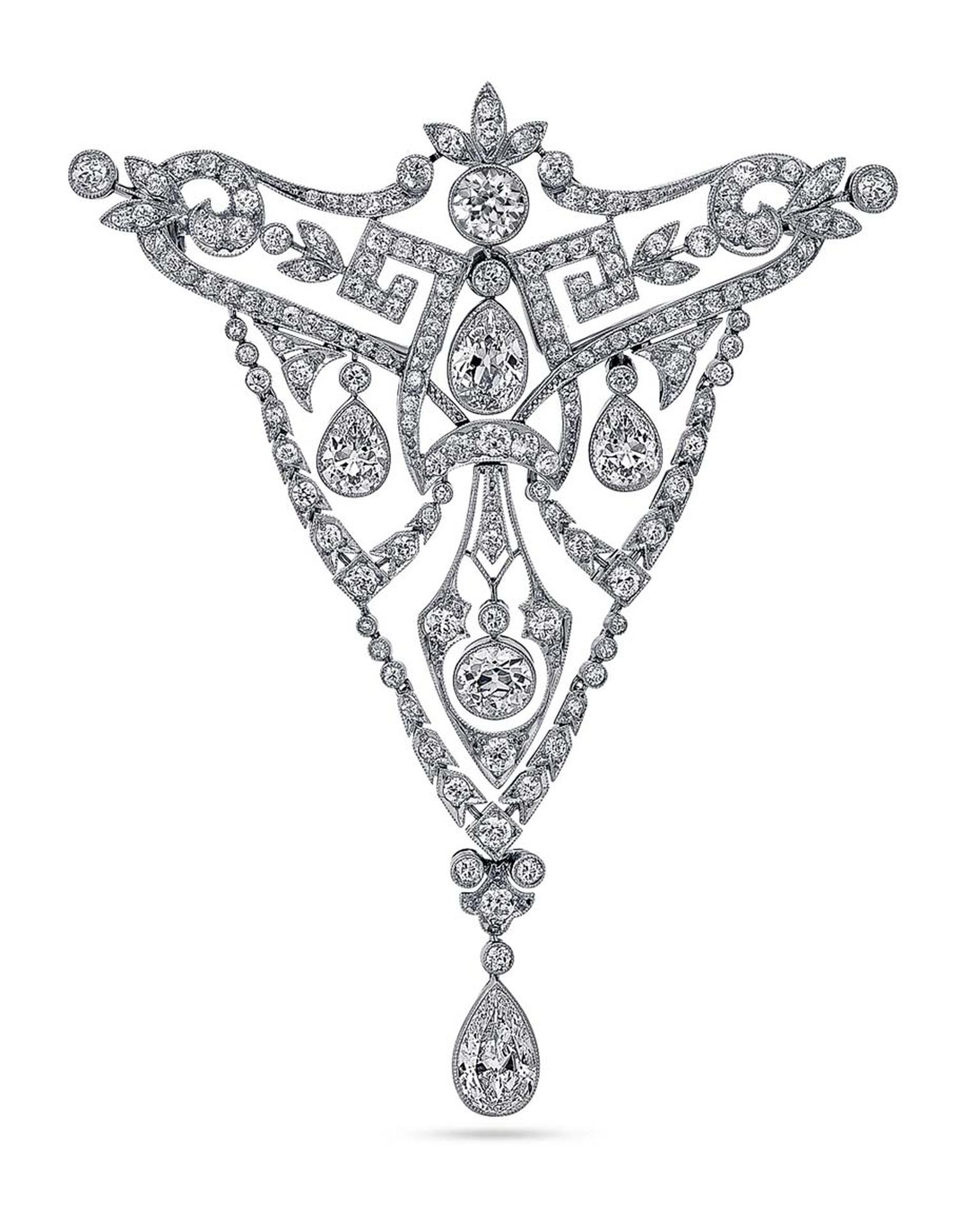 Estate Fabergé platinum and diamond brooch, originally commissioned circa 1907 by the Imperial Family of Russia as a gift for Emperor Wilhelm of Germany, sold by Greenwich jeweller Steven Fox.