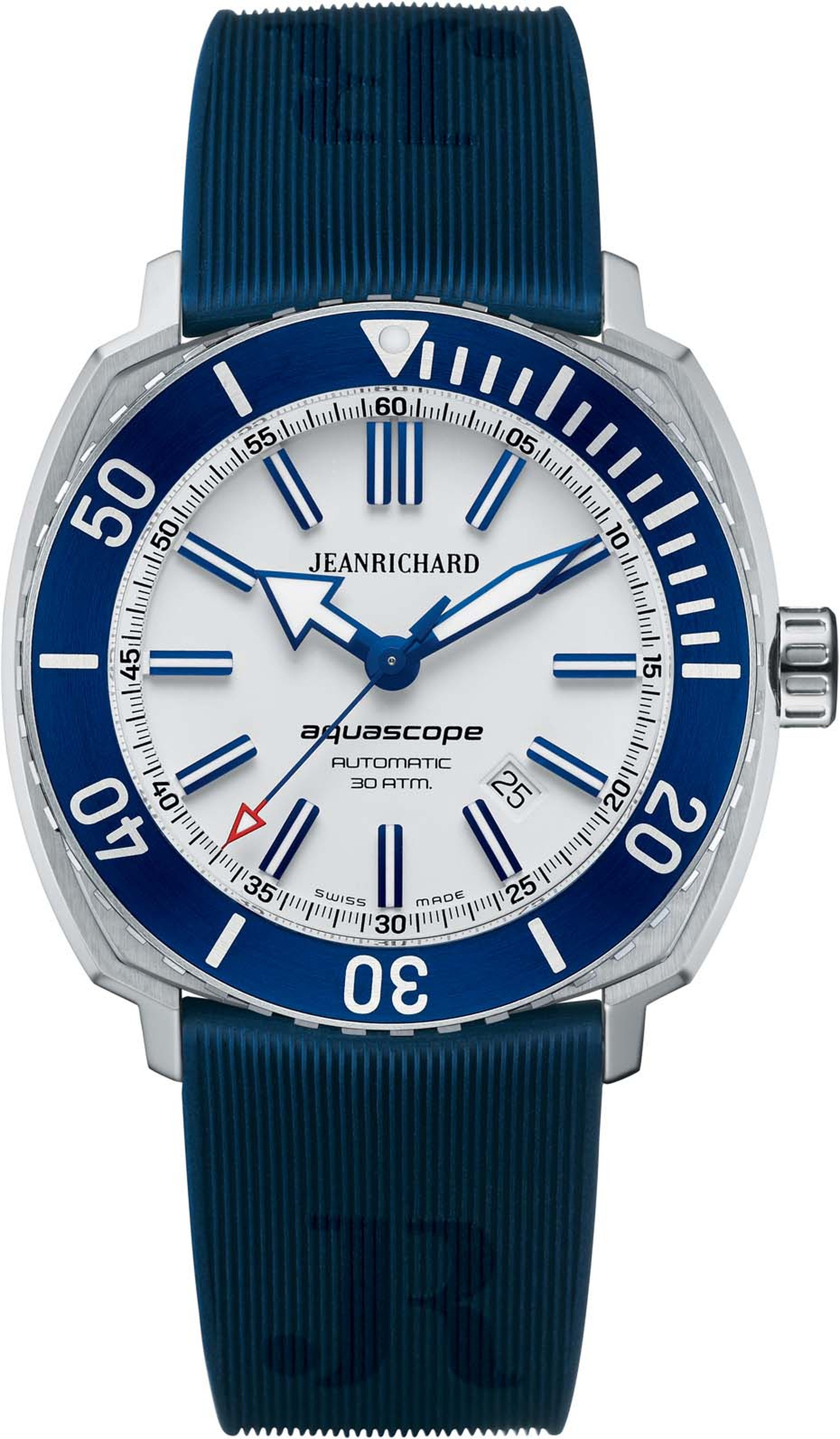 "JeanRichard 44mm Aquascope watch with a new ""rubbergator"" strap, with a deeply-set white dial with applied indices and blue bezel."