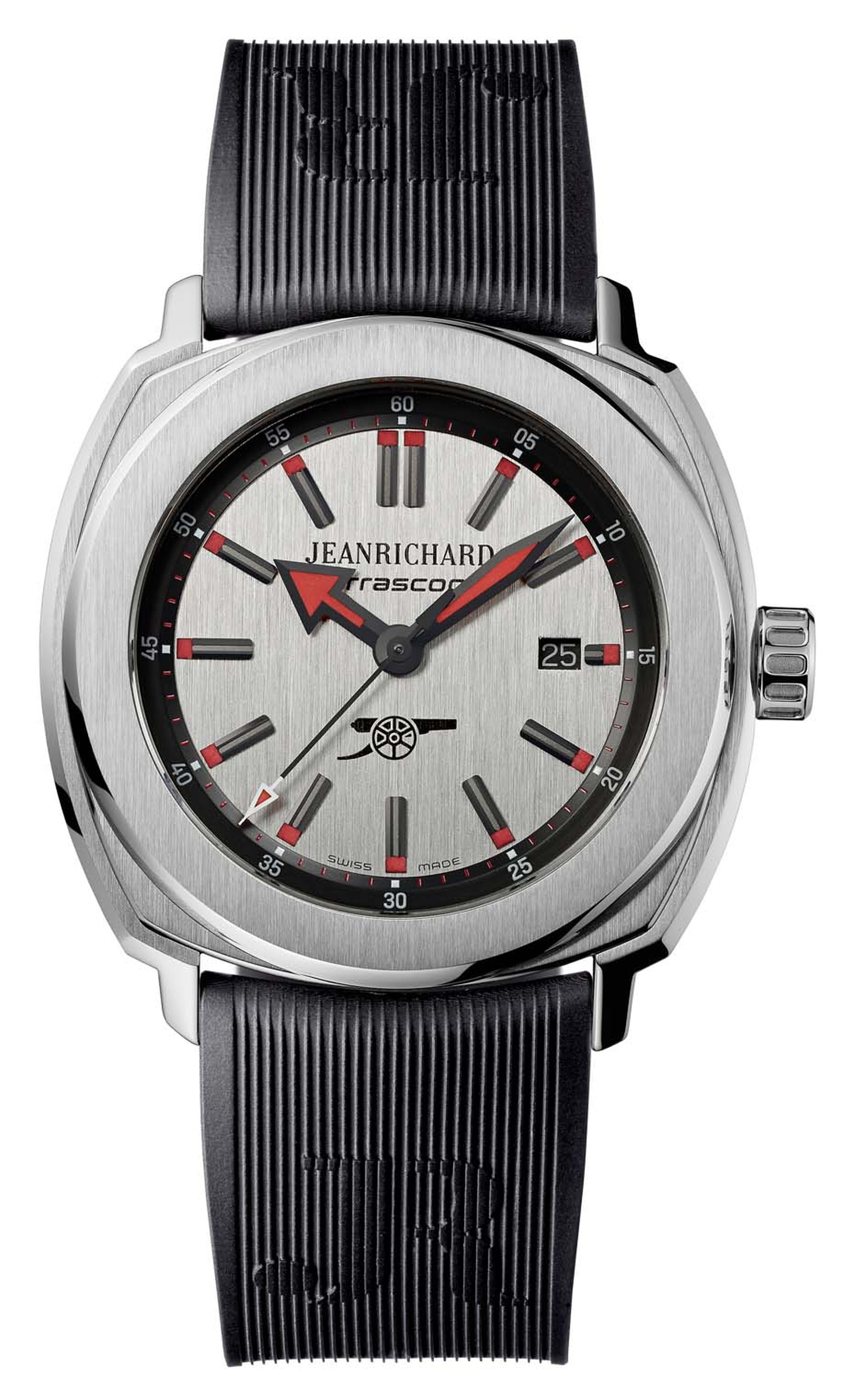 JeanRichard Arsenal Terrascope stainless steel model made in partnership between the watchmaker and the prestigious English football team (£2,300).