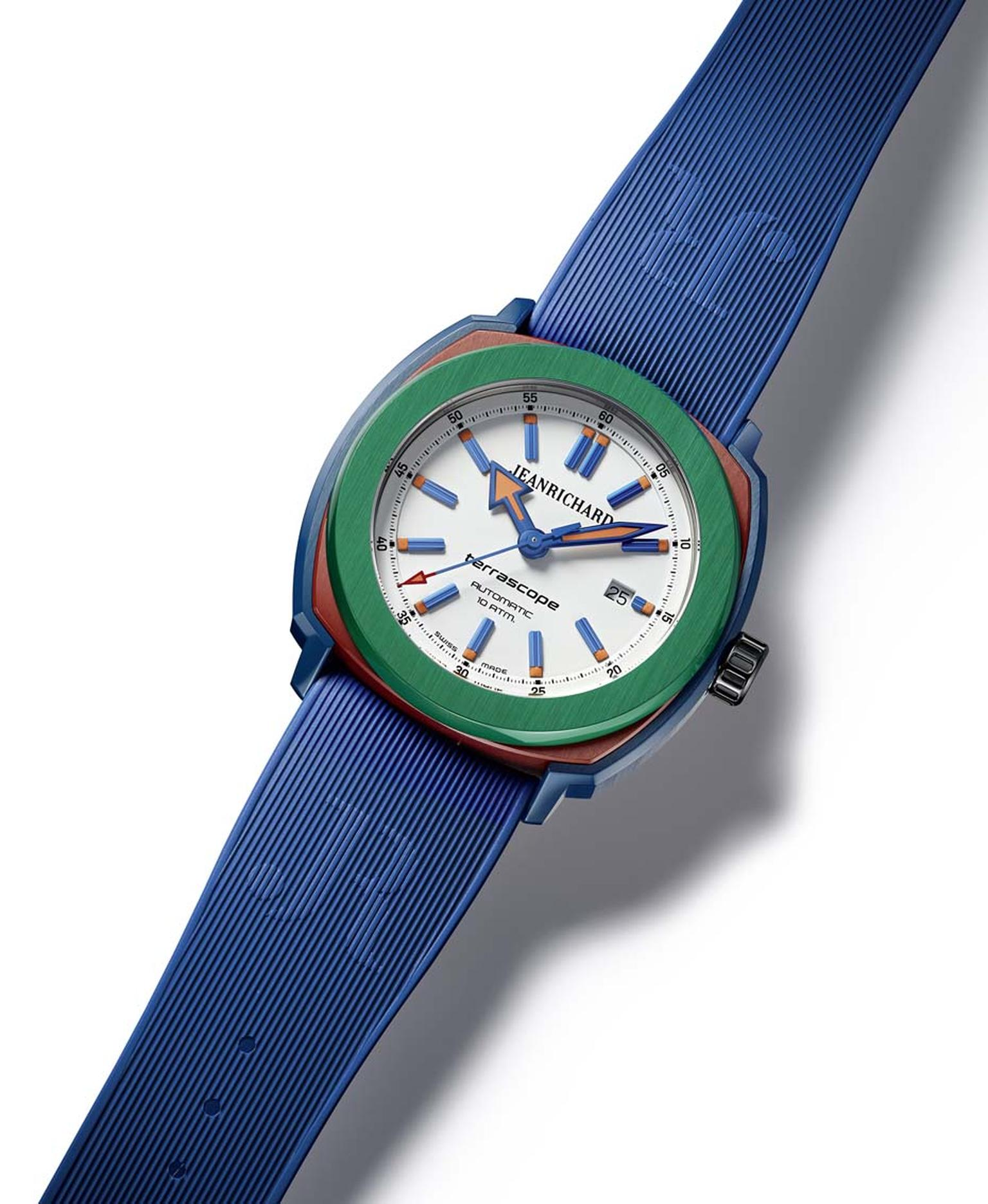 JeanRichard Terrascope watch with a green bezel and blue strap is a colourful take on the collection which remains true to the originals design's tonneau case, large round bezel, alternating polished and satin-brushed finishings, and various coatings.