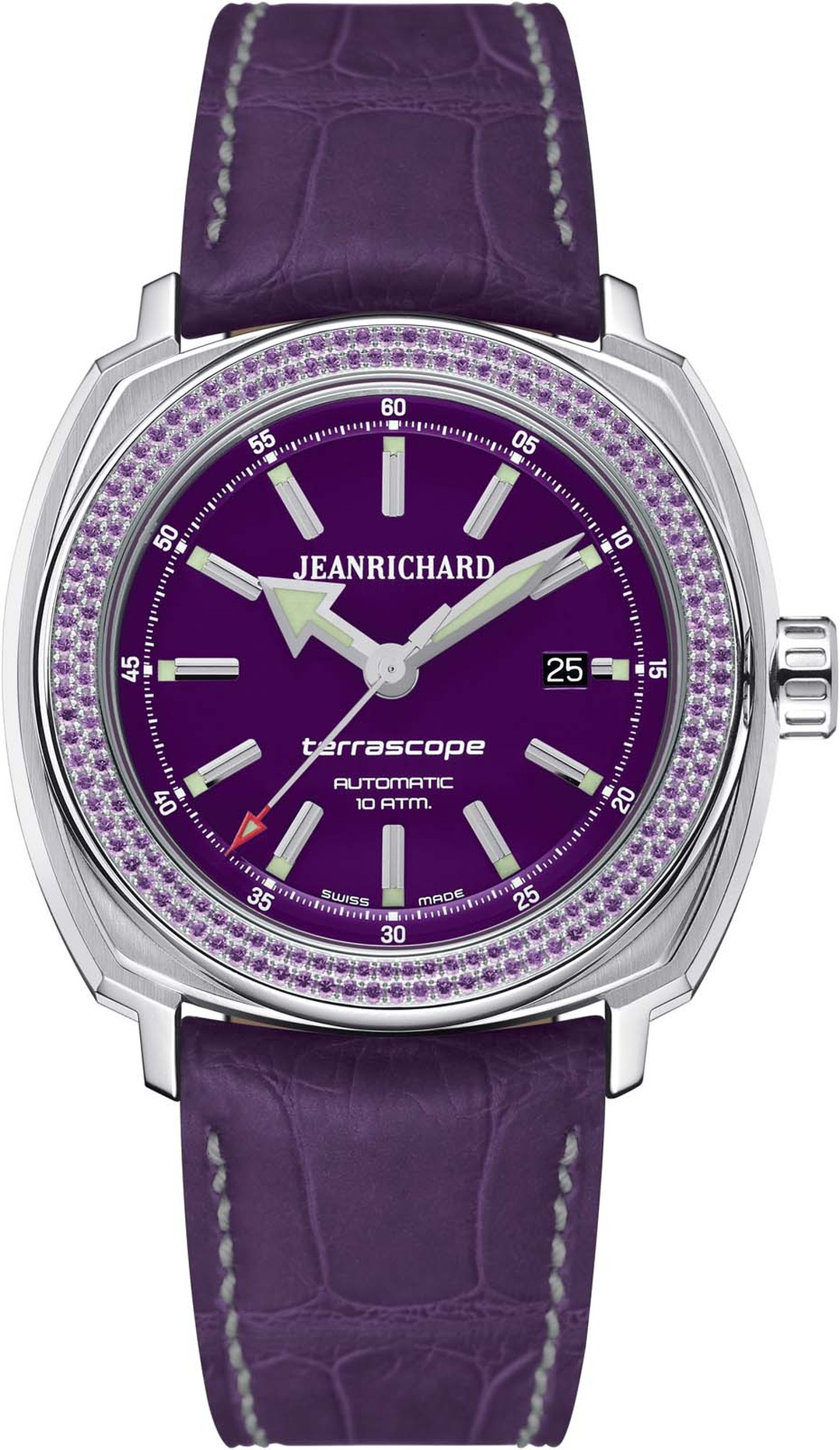 JeanRichard Terrascope ladies watch with a purple dial and bezel set with 88 amethysts.