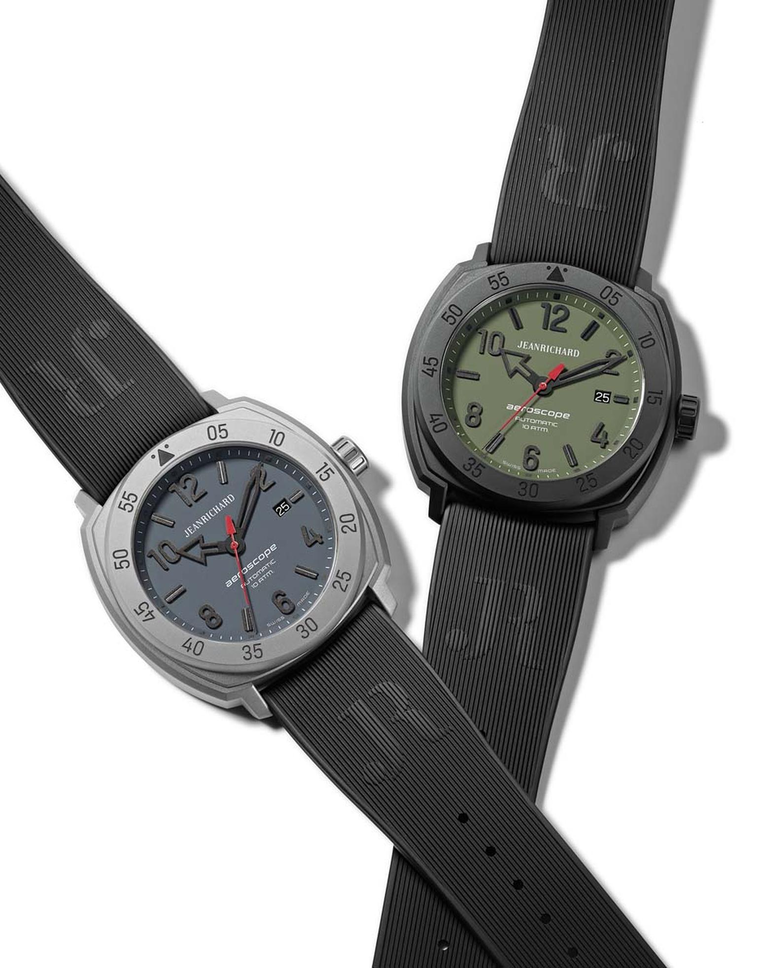 JeanRichard Aeroscope watch features a tri-compax chronograph and multi-component case construction. Besides dial colors, the Aeroscope can be placed in different cases as well as bezels such as natural and DLC-coated stainless steel.