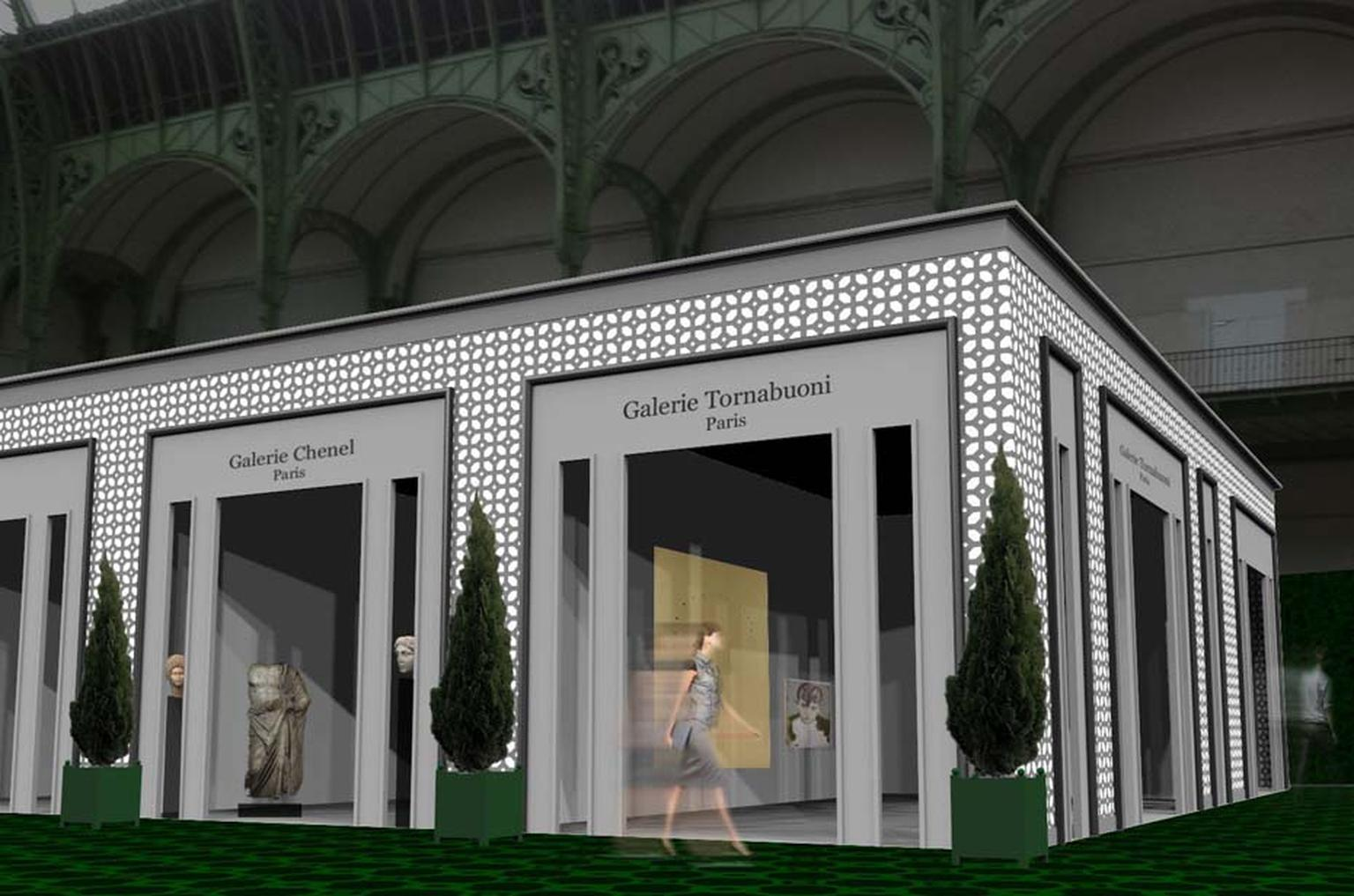 An artist's impression of what the inside of the Grand Palais will look like for the 2014 Biennale des Antiquaires, inspired by the Gardens of Versailles.
