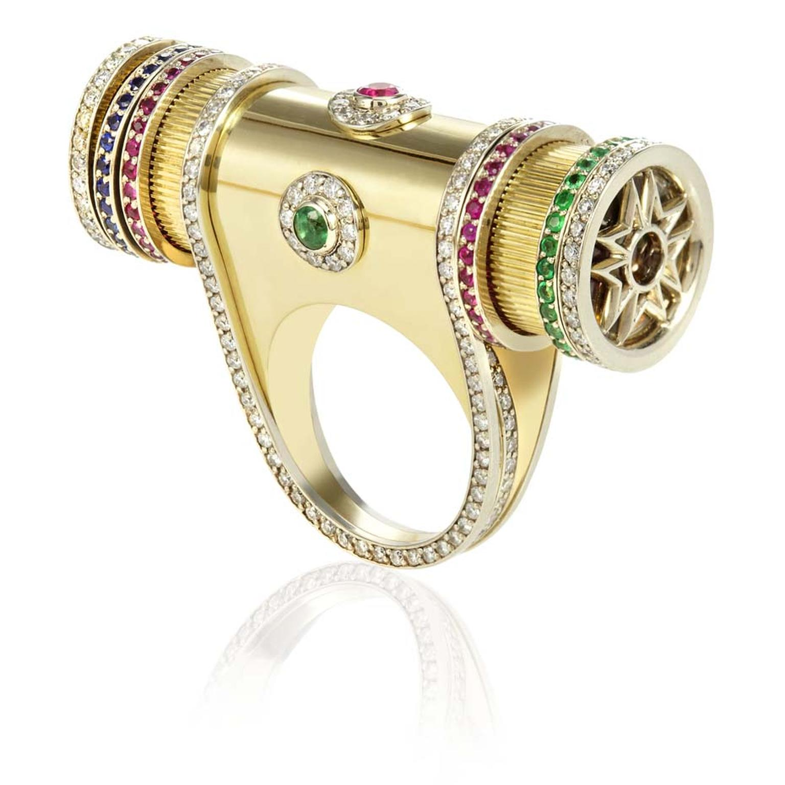 Sybarite Masterpiece collection Kaleidoscope ring with white and yellow gold, diamonds, sapphires, rubies and emeralds.