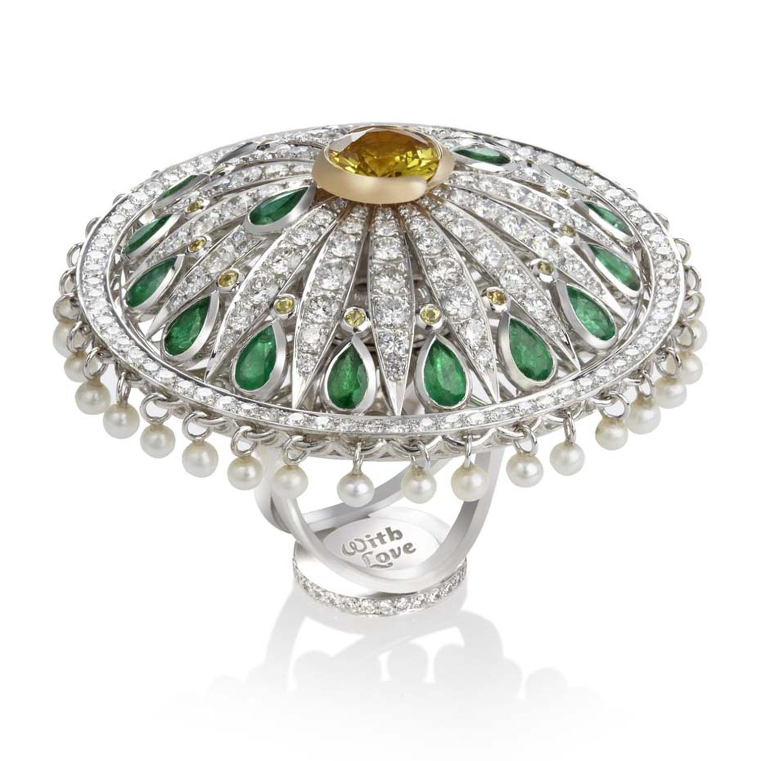 Sybarite Dancing Dolls collection white and yellow gold ring with emeralds, diamonds, pearls and a yellow sapphire.