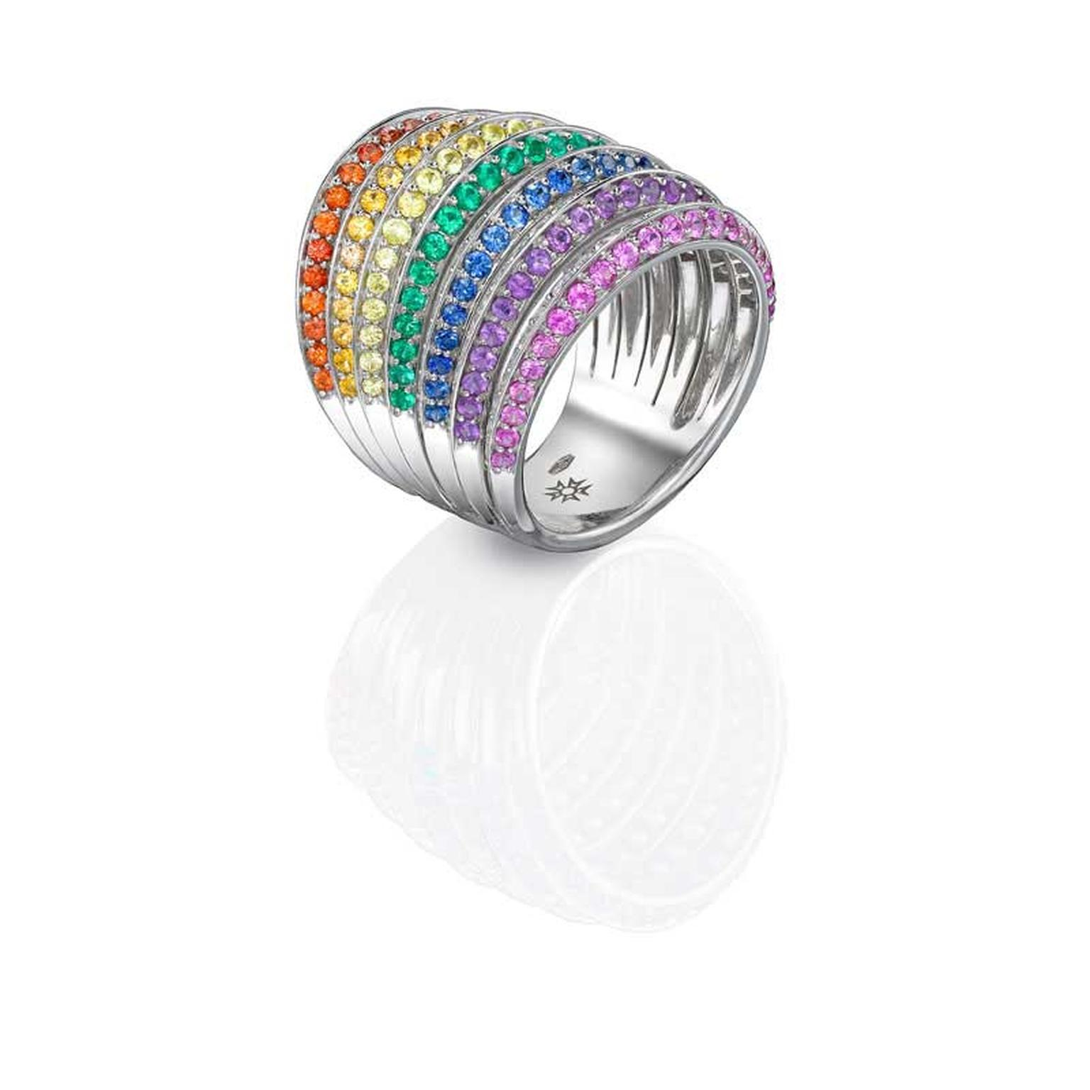 Sybarite rainbow ring with coloured multi-coloured gemstones.