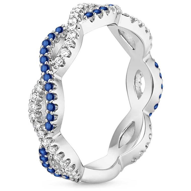 Brilliant Earth Eternal Twist diamond and sapphire engagement ring in recycled white gold. Brilliant Earth uses only ethically sourced metals and gemstones, all fully traceable back to the original source.