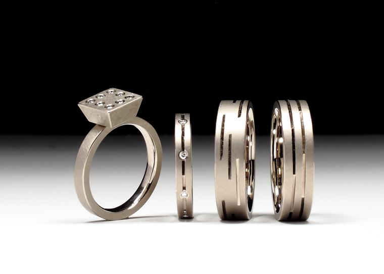 Geoffrey D. Giles engagement rings made from recycled palladium and white gold, paired with conflict-free VS diamonds.