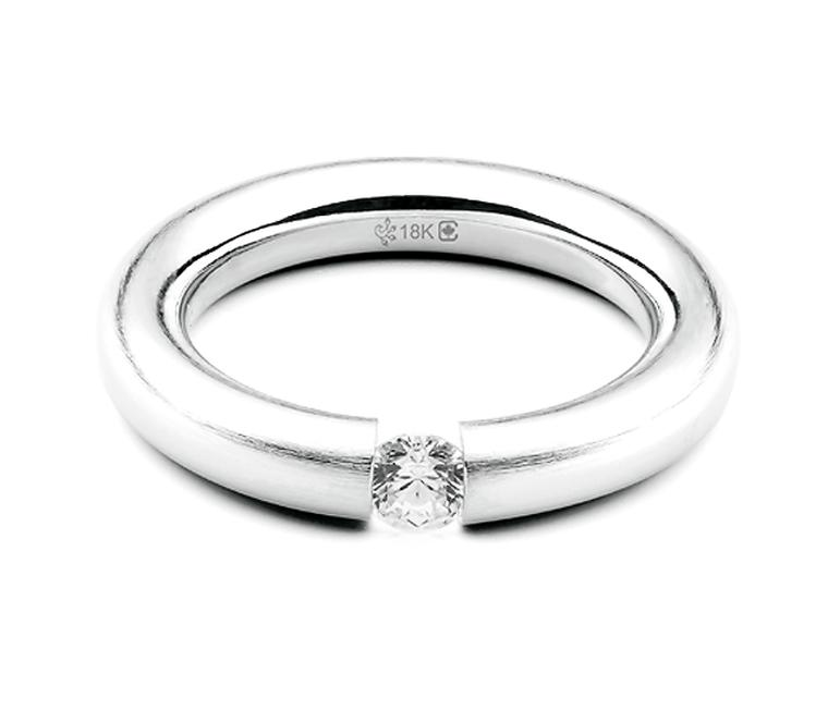 Fair Trade Jewellery Company Torus Tension Set Solitaire diamond engagement ring, featuring a fully traceable 0.25 carat Canadian diamond ($4,295) or, at an additional charge, a rare Sirius Star diamond.