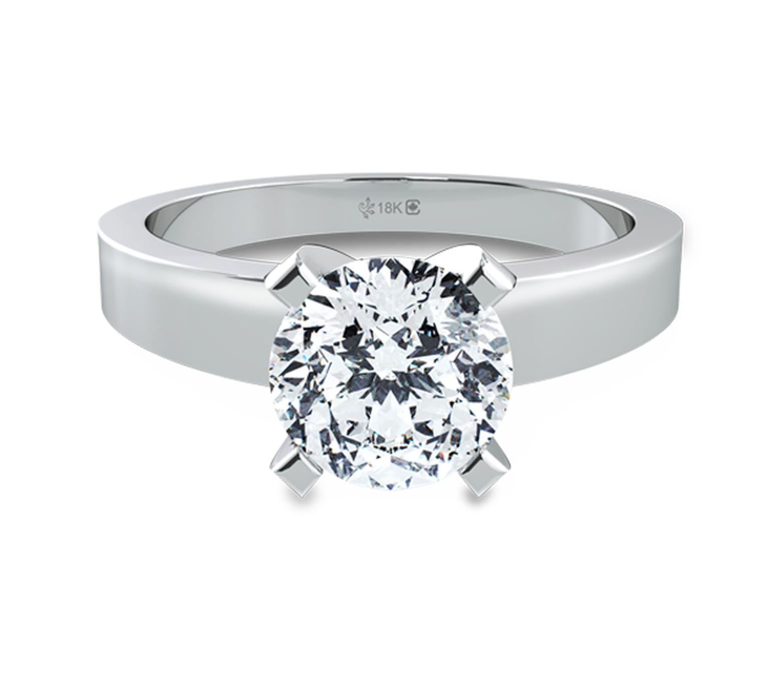 Fair Trade Jewellery Company Star-Sign Solitaire diamond engagement ring in Fairtrade white gold, set with a fully traceable 1.00ct Canadian diamond ($11,995).