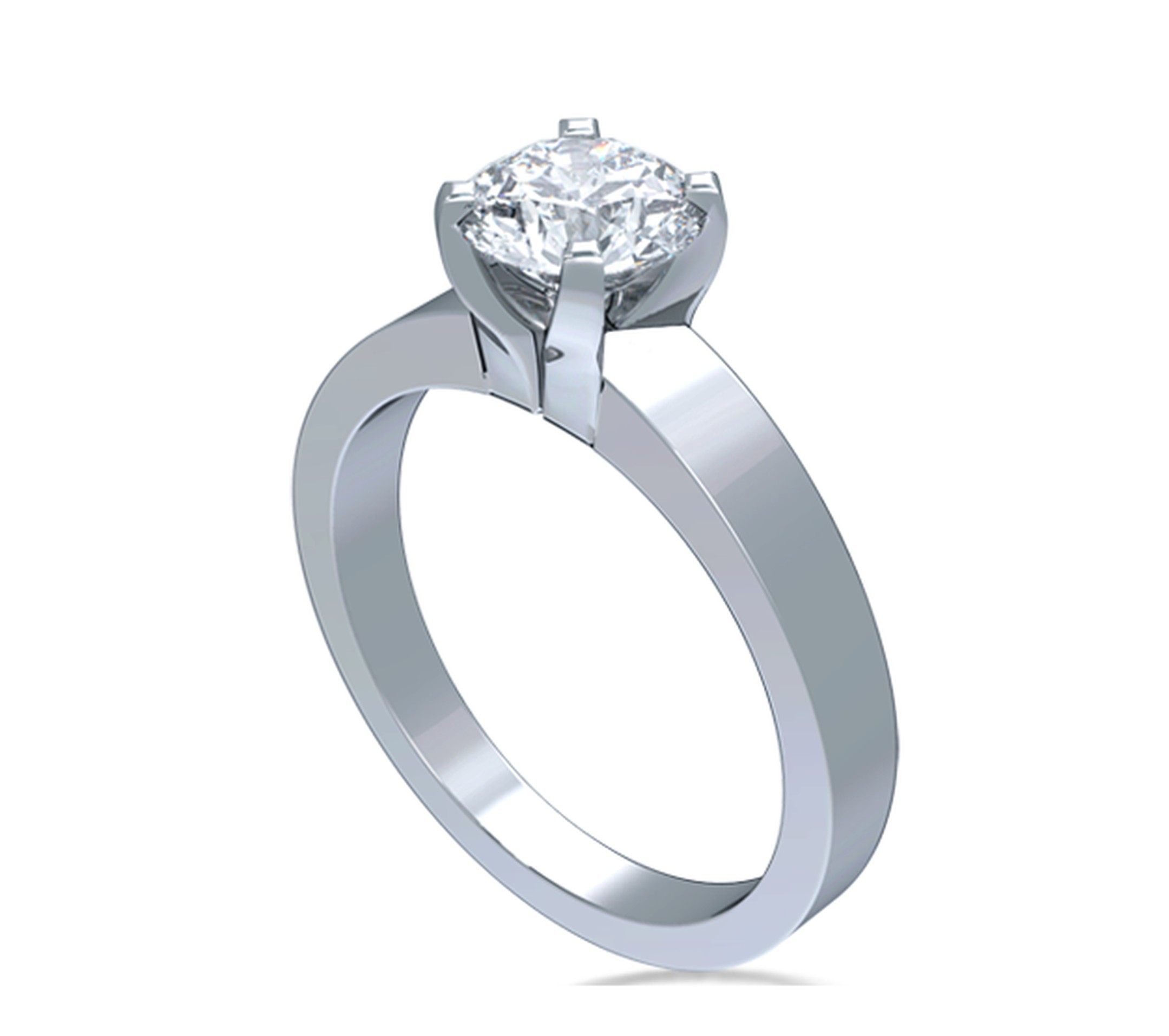 Fair Trade Jewellery Company Star-Sign Solitaire diamond engagement ring in Fairtrade white gold, set with a fully traceable 1.00ct Canadian diamond, viewed side on ($11,995).