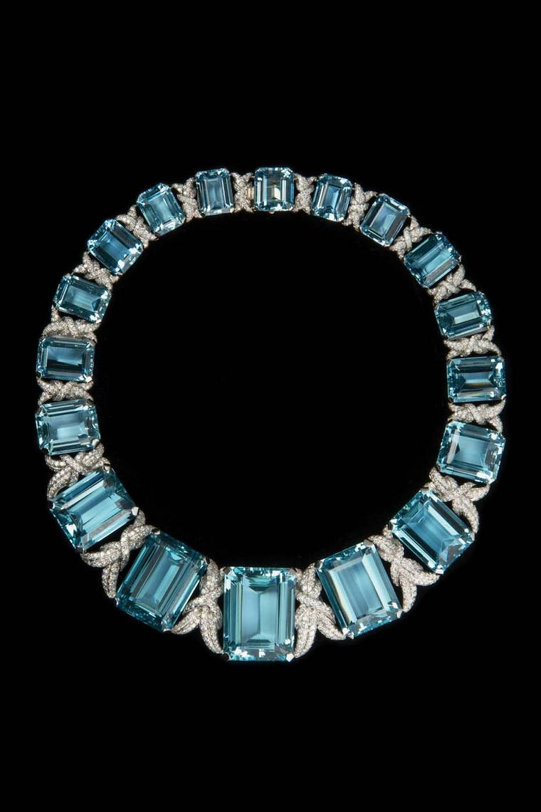 Verdura aquamarine and diamond necklace dating from 1993.