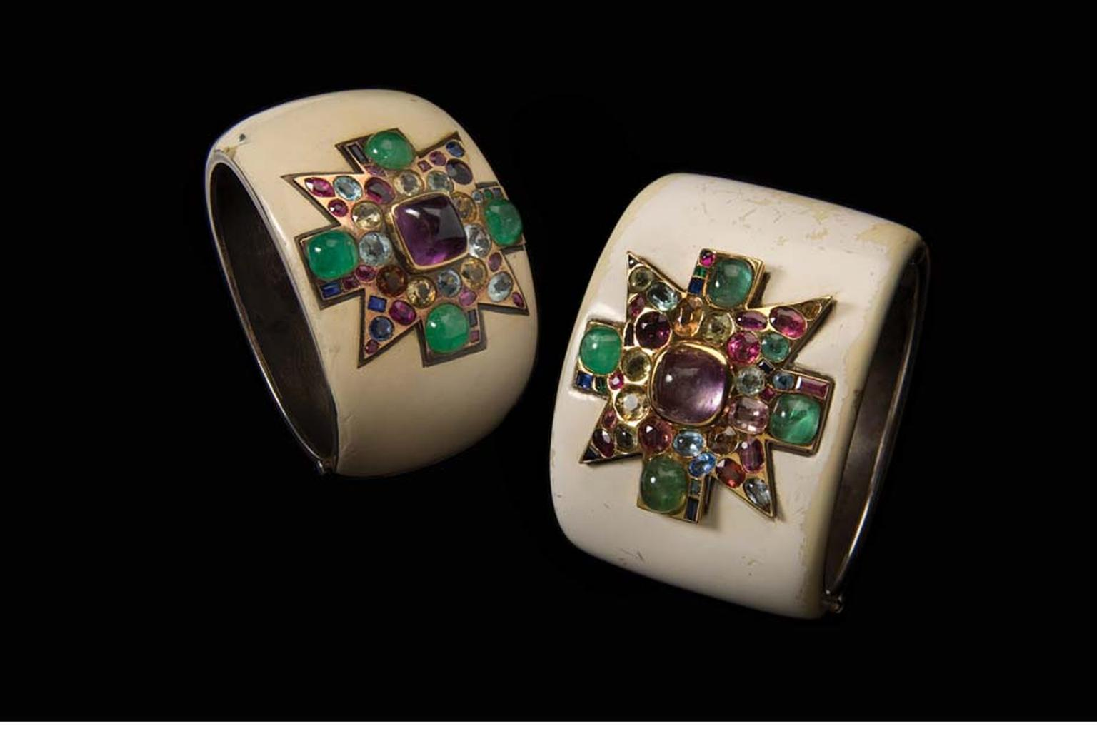 Verdura gemstone, gold and enamel Maltese Cross cuffs, circa 1930, originally owned by Coco Chanel.