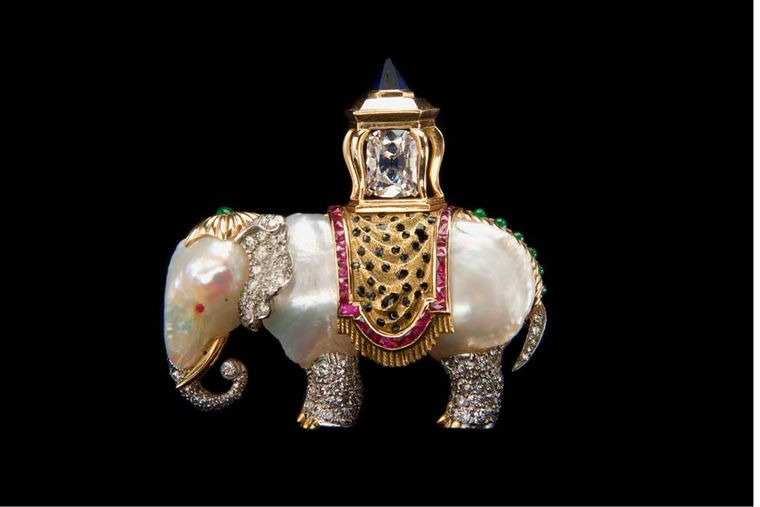 Originally purchased by Joan Fontaine and worn in Alfred Hitchcock's film Suspicion, this Verdura baroque pearl, gemstone, diamond, platinum and gold Elephant brooch dates from 1957.