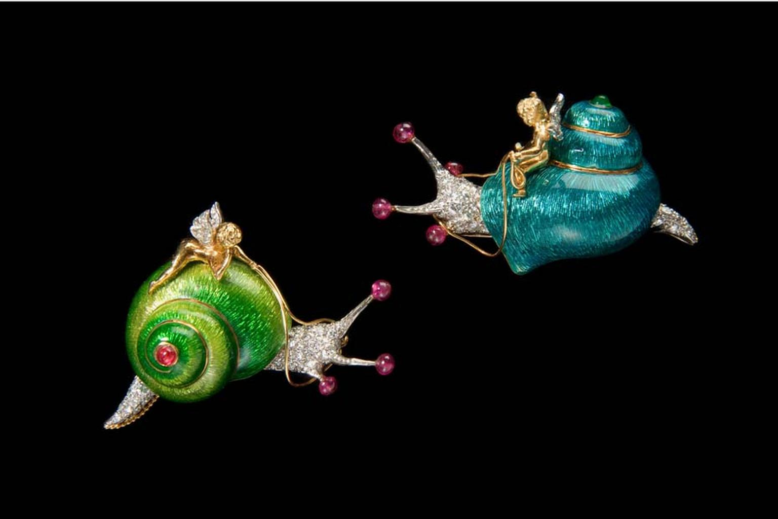 Verdura Snail and Cherub brooches with enamelwork, diamonds, rubies and emeralds, dating from 1968.