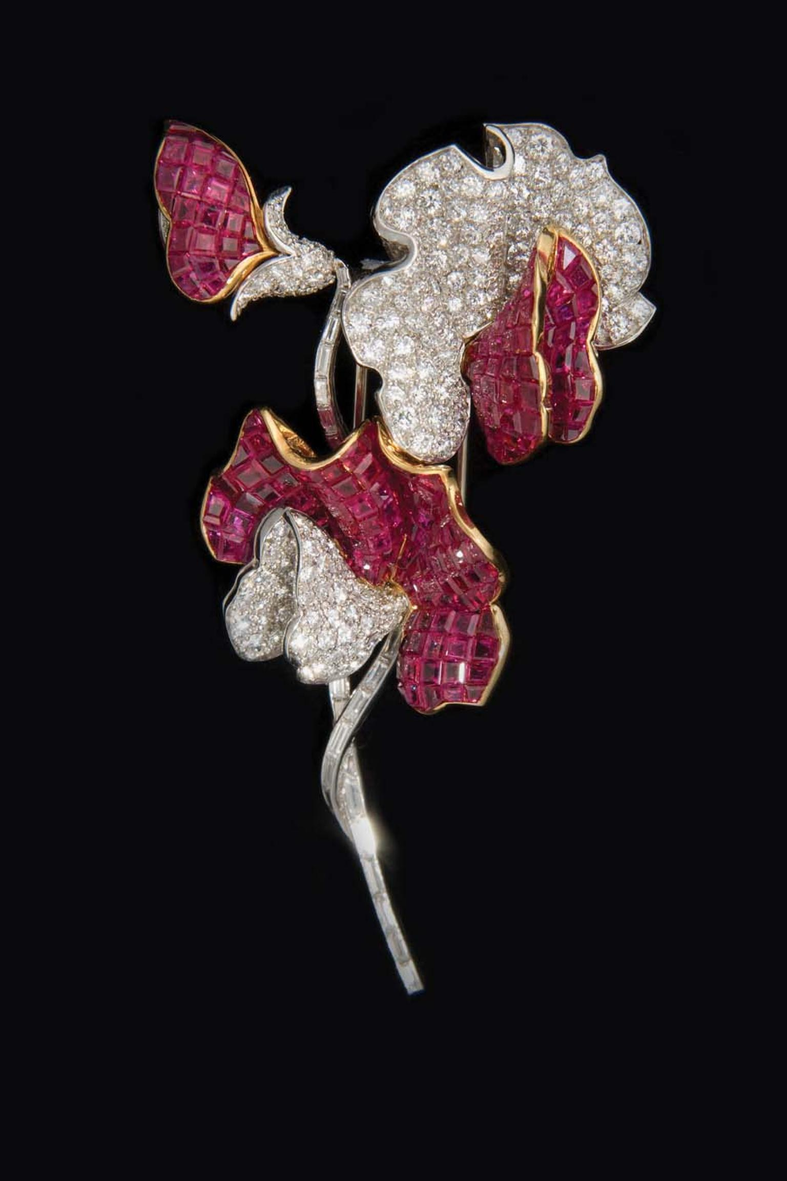 Verdura platinum Sweet Pea brooch set with rubies and diamonds, circa 1950.
