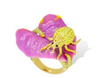Lydia Courteille Sweet and Sour collection ring in yellow gold, with phosphosiderite, yellow topaz and yellow sapphires.