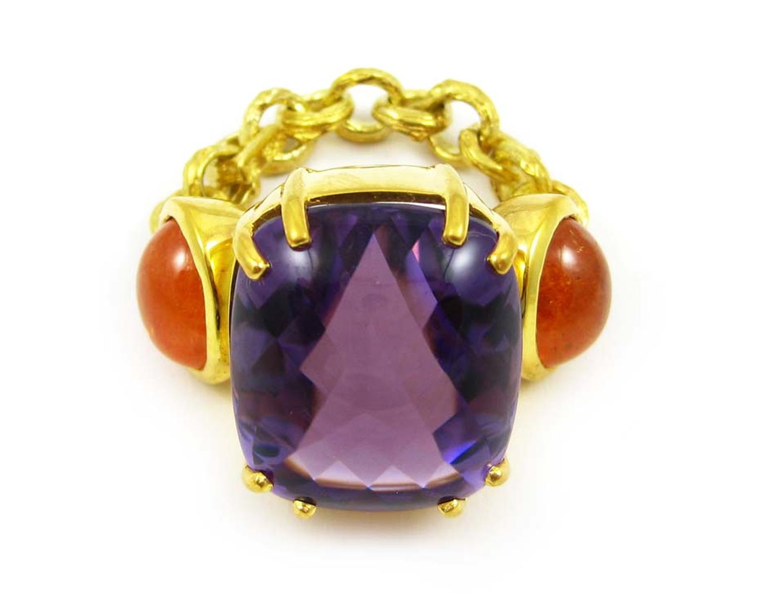 K. Brunini Chains of Love Twig ring in yellow gold with a central 30.86ct amethyst and two mandarin garnet cabochons ($15,320).
