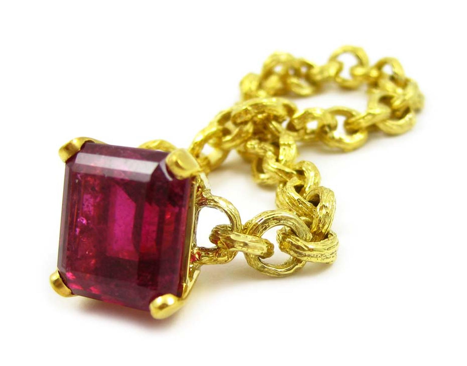 K. Brunini Twisted Chains of Love ring in yellow gold with a 13.54ct rubellite ($16,640).