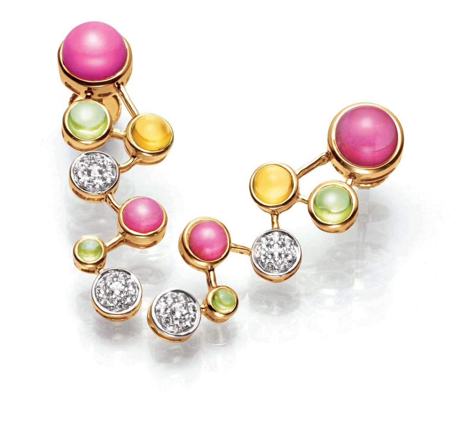 Tanishq IVA 2 collection gold Playful earrings with diamonds and multi-coloured gemstones.