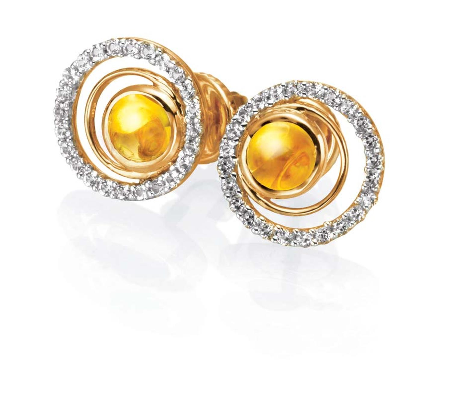 Tanishq IVA 2 collection gold circular ear studs with diamonds and citrine.