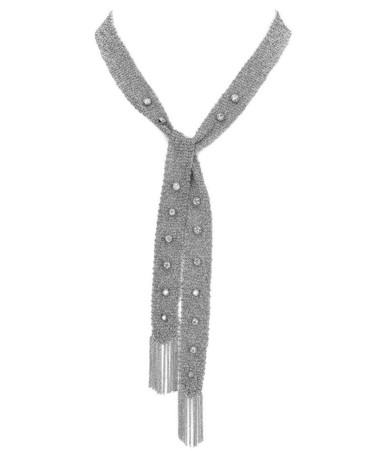 Colette Entwined In You white gold mesh necklace, encrusted with diamonds.