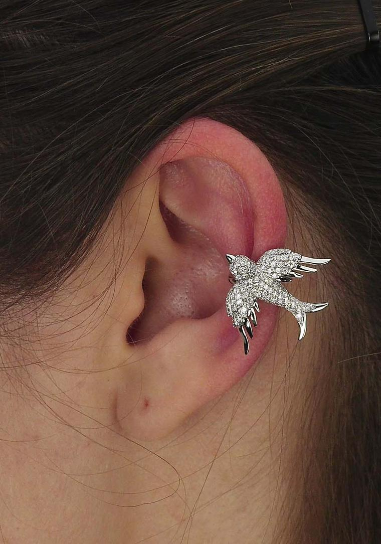 Colette Blue Drift white gold Bird ear cuff with white diamonds ($6,800).
