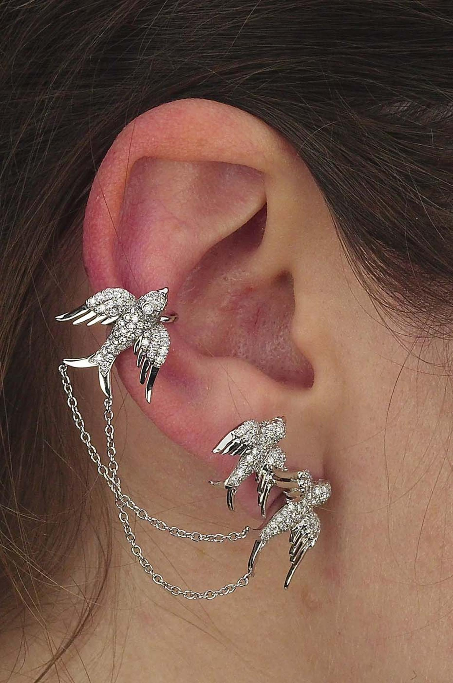 Colette Blue Drift white gold 3 Bird ear cuff with white diamonds.