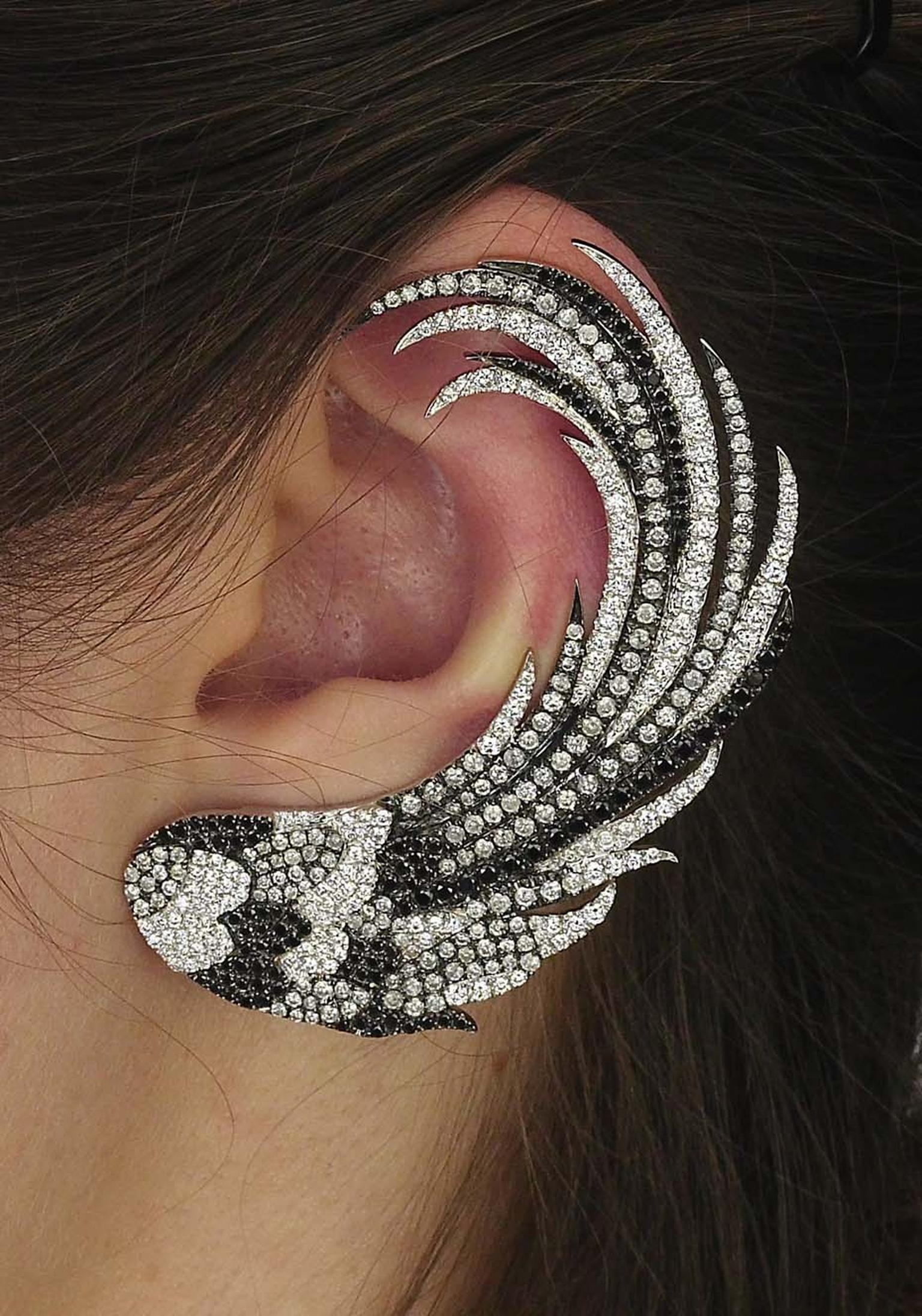 Colette Blue Drift white and black gold Single Wing ear cuff with white, grey and black diamonds ($15,350).