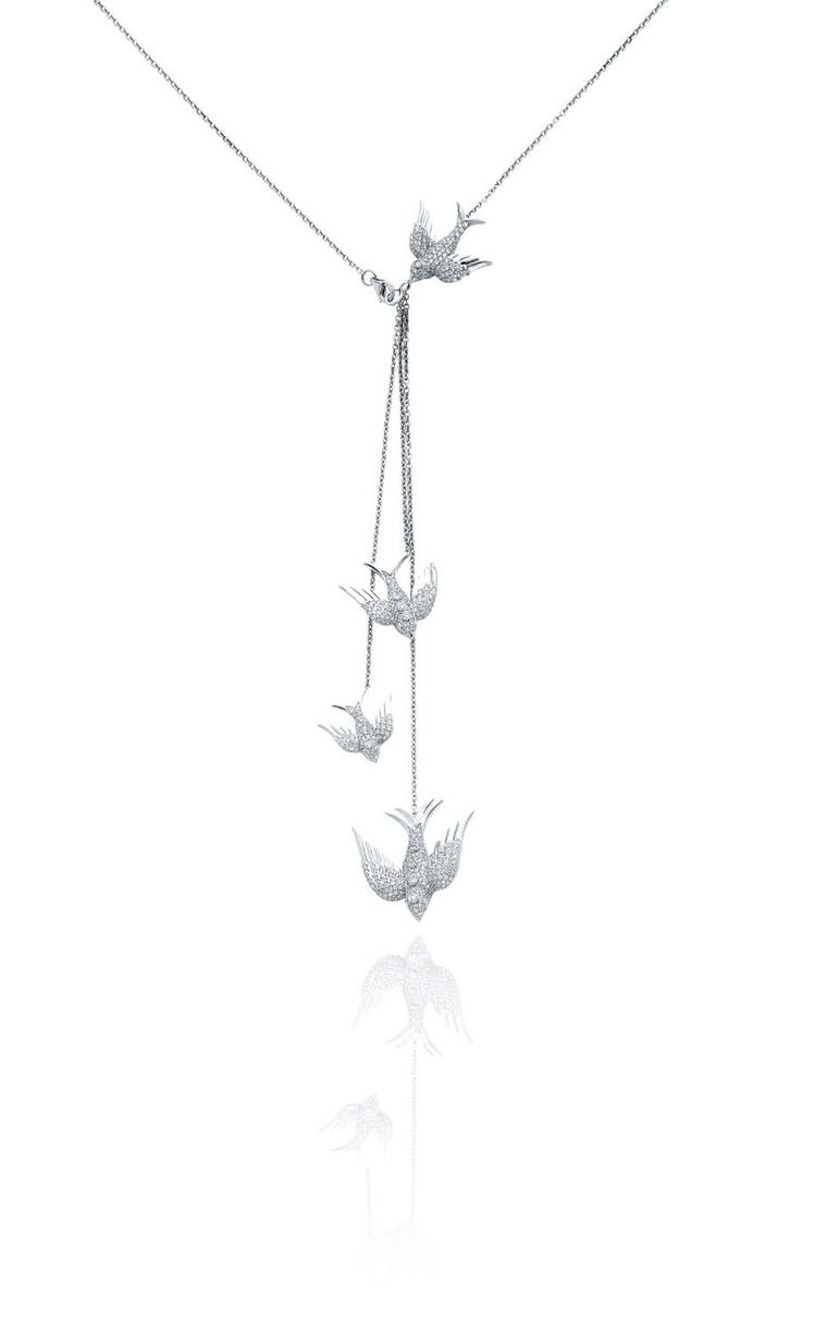 Colette Blue Drift white gold Birds necklace with white diamonds.