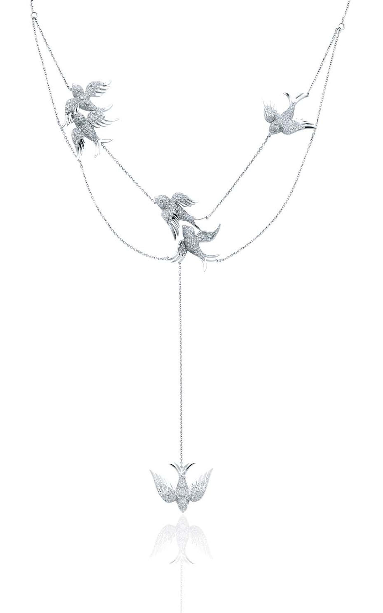 Colette Blue Drift white gold Birds necklace with 5.23ct of white diamonds ($39,260).