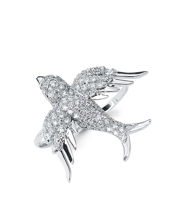 Colette Blue Drift white gold Bird ring with white diamonds ($4,250).