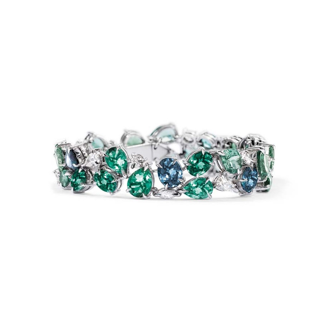 Asprey Chaos collection platinum bracelet with mixed-cut tourmalines and diamonds.