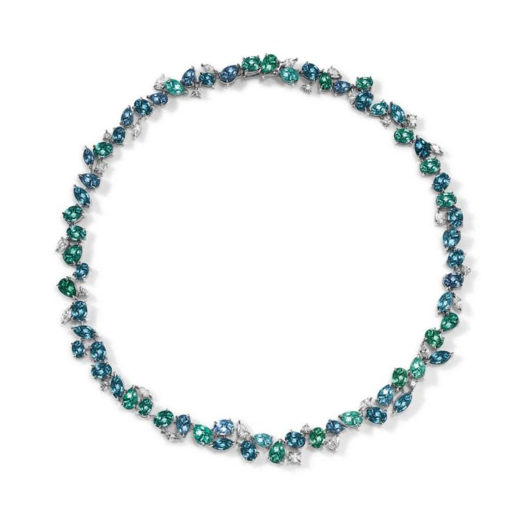 Asprey Chaos collection platinum necklace with mixed-cut tourmalines and diamonds.
