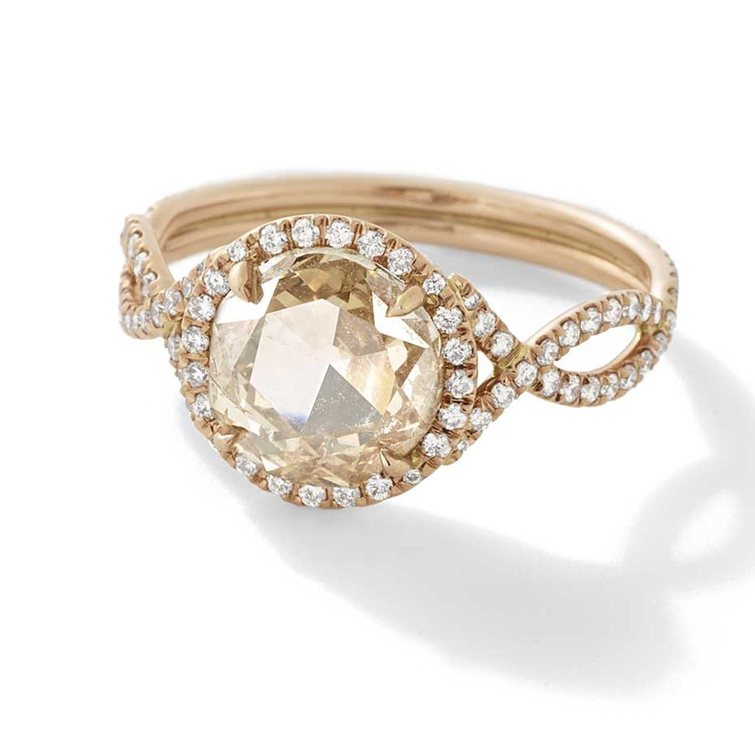 Monique Péan Mineraux engagement ring in recycled rose gold, set with an antique champagne rose cut diamond and diamond pavé ($39,690).