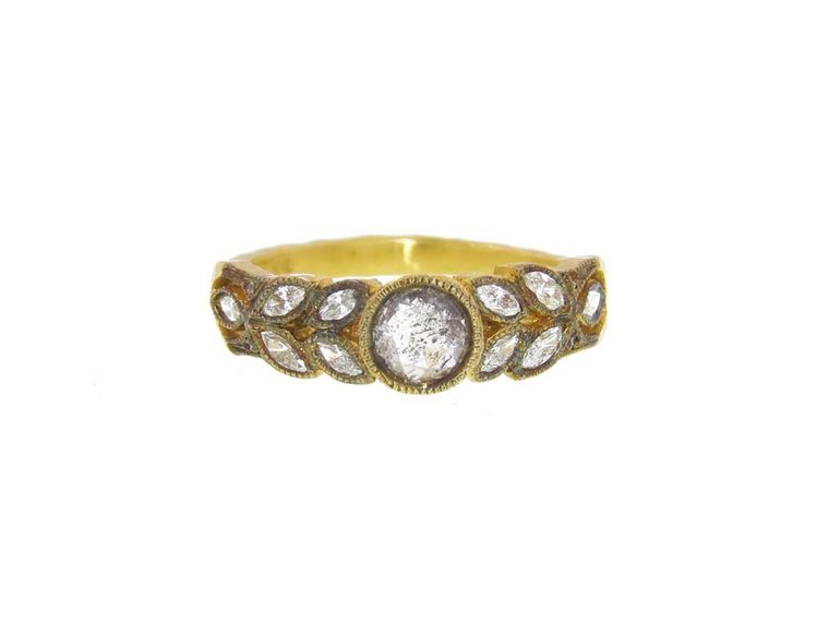 Cathy Waterman Garland engagement ring with rose cut diamonds set in 22ct gold.