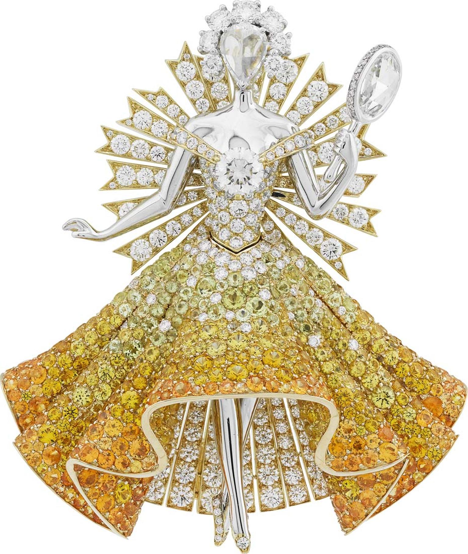 Van Cleef & Arpels Peau d'Âne collection white and yellow gold Sun Dress brooch with white and yellow diamonds, spessartite garnets, tourmalines and yellow sapphires.
