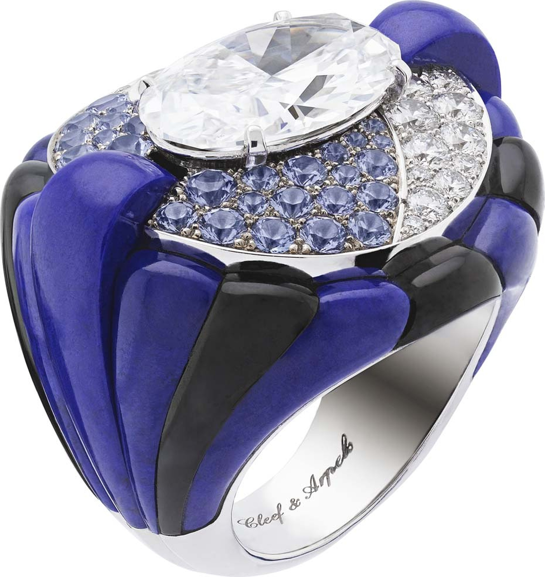 Van Cleef & Arpels Peau d'Âne collection Star of the Night white gold ring with lapis lazuli, onyx, diamonds, tanzanite and a central 5.75ct oval diamond.