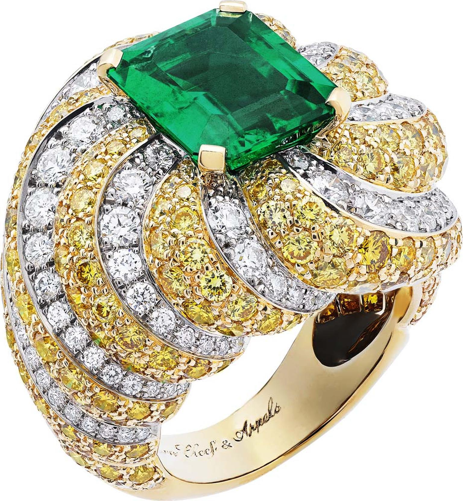 Van Cleef & Arpels Peau d'Âne collection white gold Cake Love ring with white diamonds, yellow diamonds and a central emerald cut 4.48ct Zambian emerald.