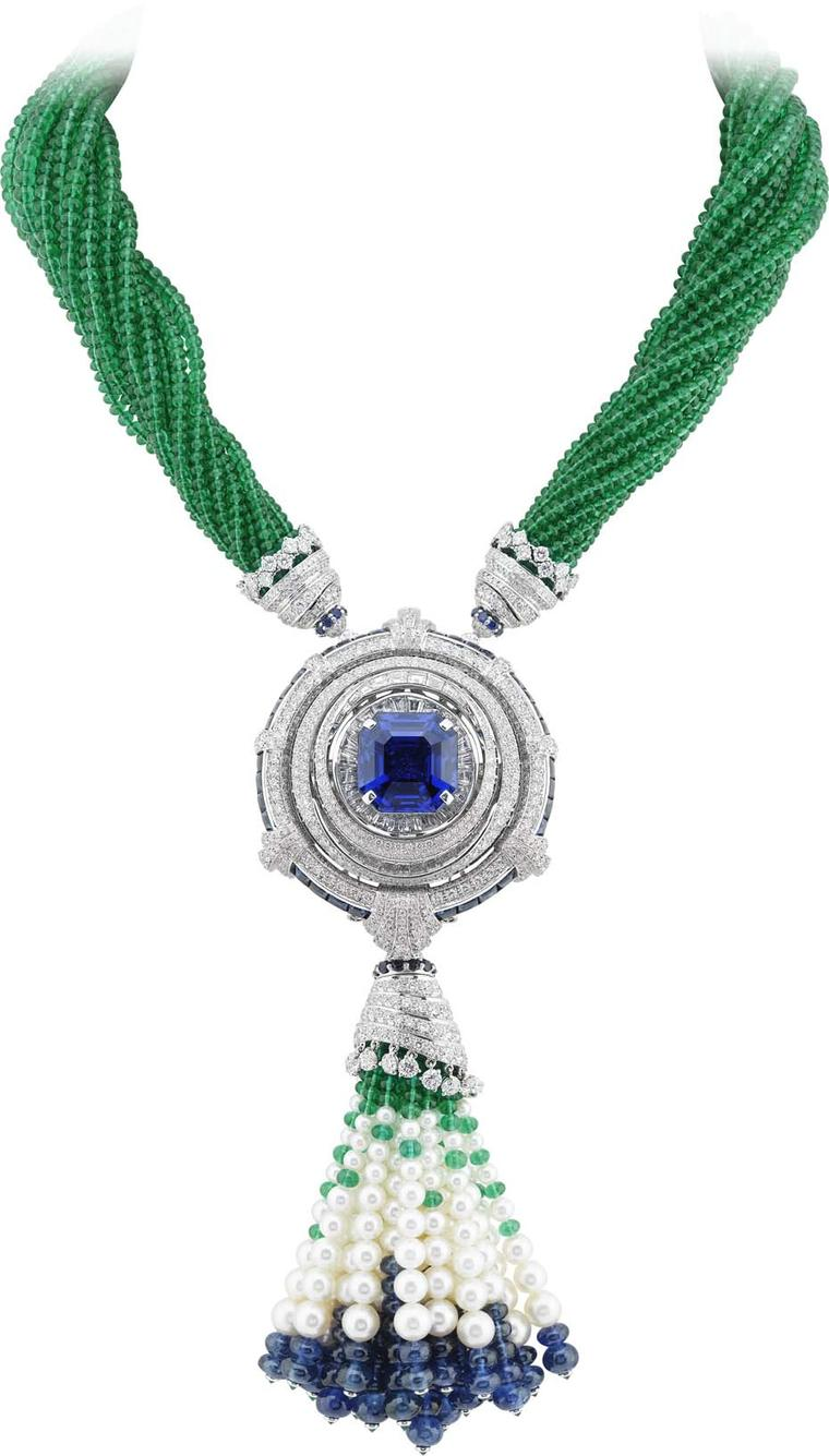 Van Cleef & Arpels Peau d'Âne Enchanted Forest white gold convertible necklace with diamonds, cabochons, sapphire beads and 381ct of emerald beads surrounding an octagonal 24.77ct sapphire.